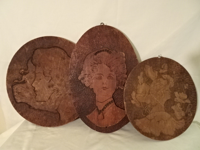 "Antique Burnt Wood Plaques - Ladies faces- 10"" 12"" 13"""
