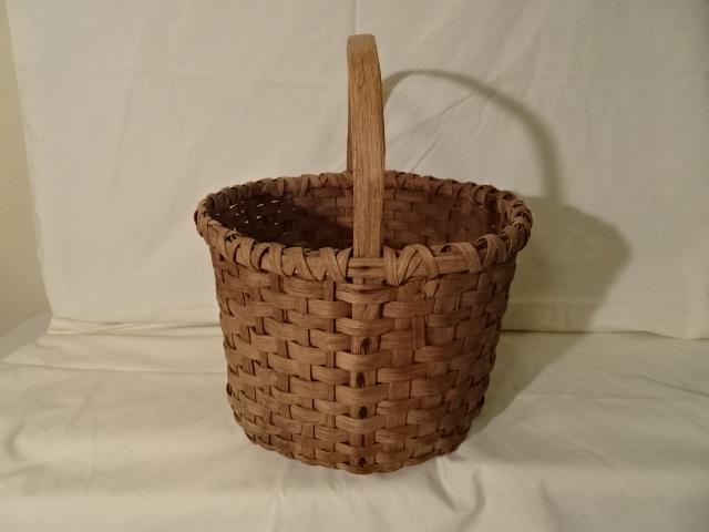 "#136 Antique Handmade Basket - 13"" x 8 1/4"" h, plus 7 1/4"" handle - $40"