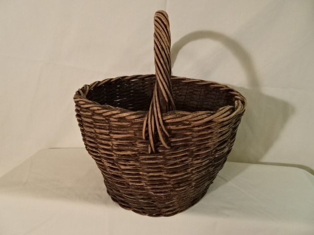"#134 Antique Handmade Basket - 11"" w x 7"" h plus 5"" handle - $ ? (KTTH)"
