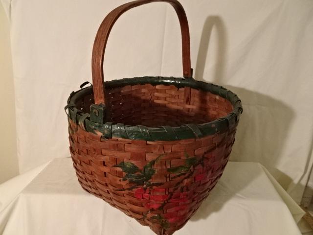 "#151 Swing Handle Antique Handmade Basket - green painted flowers - 14"" round x 9 1/2"" h plus 7"" swing handle"