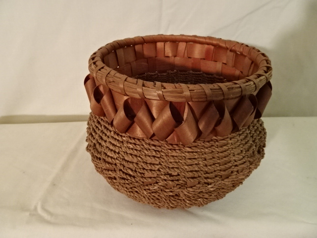 "#157 Round Antique Handmade Indian Basket - 6 1/2"" round x 5"" h plus ribbon decor"