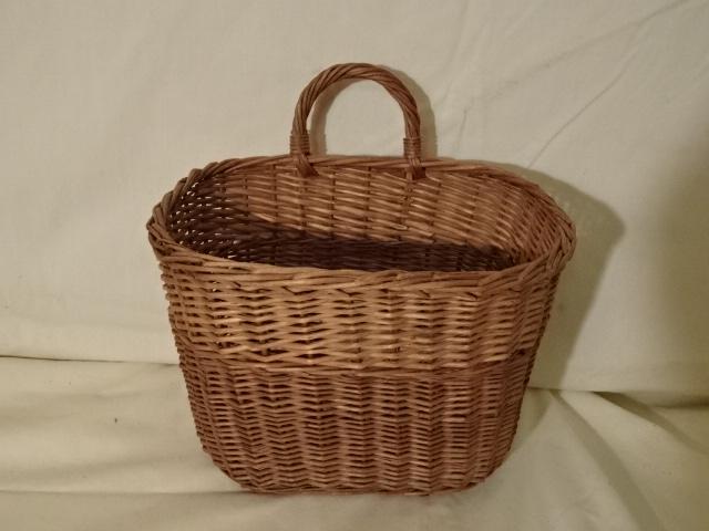 "#156 Single Side Handle - Antique Handmade Basket - Decorative Stripe - 9 1/2 oval x 7 h plus 2 1/2"" handle"