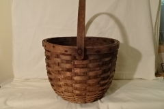 "#138 Antique Handmade Basket - swivel handle - 14"" round x 11 1/2"" h, plus 7 1/4"" handle - $55? (RETH)"