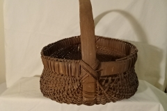 "#135 Antique Handmade Double Bottom Basket - 15 1/2"" w x 8"" h, plus 6 1/4"" handle - $ ? ()"
