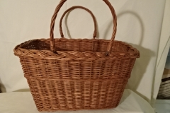"#139 Antique Handmade Basket - stripe decoration - 15 1/2"" w x 9 1/2"" w x 9 1/4 h, plus double handles - $ ? ()"