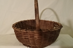 "#140 Antique Handmade Basket - 12"" round w, plus handle - some wear - $ ? ()"