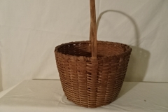 "#147 Intricate Antique handmade Basket - 9"" round x 6 1/2 h plus 7"" handle"