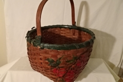 "#151 Swing Handle Antique Handmade Basket - green painted flowers - 14"" round x 9 1/2"" h plus 7"" swing handle"