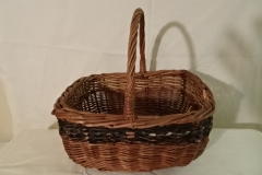"#155 Antique Handmade Basket - painted stripe - 11"" x 9"" x 6"" with 5 1/2"" handle"