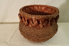 "#157 Round Antique Handmade Indian Basket - 6 1/2"" round x 5"" h plus ribbon decor"