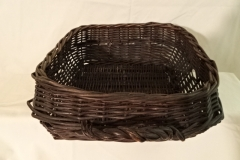 "#158 Indian Antique Handmade Herb Gathering Basket - 12"" square x 5"" plus curved handle on one side"