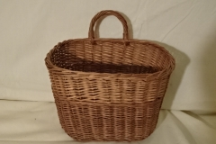 "#156 Single Side Handle - Antique Handmade Basket - Decorative Stripe - 9 1/2 oval x 7 h plus 2 1/2"" handle"