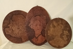 "Antique Burnt Wood Plaques - Ladies faces - 10"" 12"" 13"""