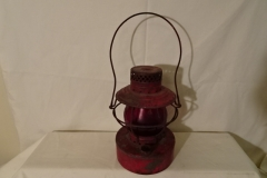 "Railroad Lantern Red with Red Lenses - 9 1/2"" h - ""Handlin St Louis"" on lens"