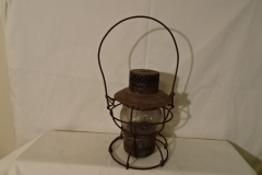 "Railroad Lantern with Clear Lenses - 9"" h - ""B & P Ry"" on lens - ""Handlin St Louis"" on lid"