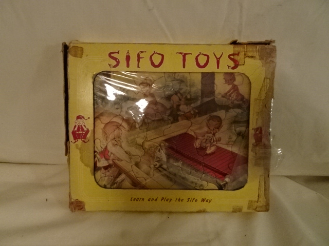 "Antique Toy Puzzles - 4 Sifo Puzzles in box - Sifo, St Paul, Minn - 10"" x 8 1/2"" - 4 puzzles all pieces"